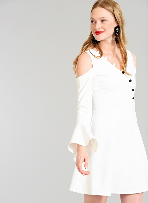 People By Fabrika Omuzları Açık Elbise Beyaz